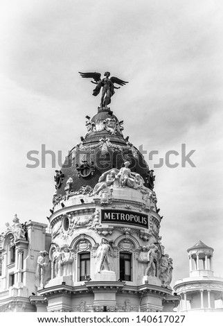 Hotel Metropolis, Madrid, Spain (in black and white) - stock photo