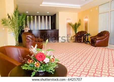 Hotel modern reception: indoor design, office reception