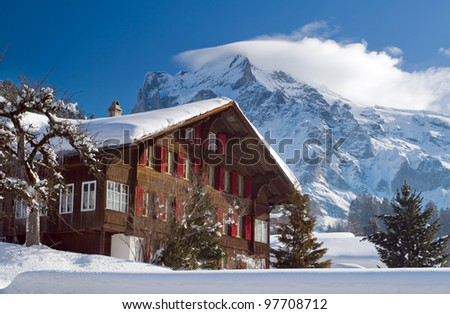 Hotel near the Grindelwald ski area on the mountain. Switzerland. View of the mountain Schreckhorn