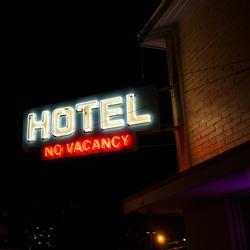Hotel No Vacancy Neon Sign. Vintage neon