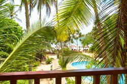 Hotel or residential house in tropical garden, terrace overlooking sunny beach and swimming pool, Sri Lanka. View of sea from home balcony. Ocean front resort among coconut palm trees in summer.