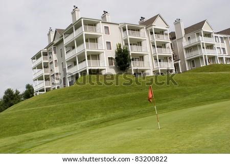 Hotel overlooking golf course