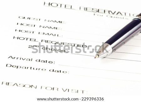Hotel reservation form.(Blank ready to be filled).   EZ Canvas