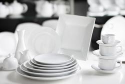 Hotel restaurant white dishes assortment. Stylish crockery set. Luxury and sophistication concept