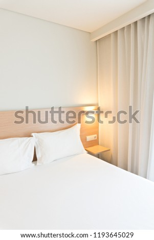 Hotel room. Clean and minimalistic style. Copy space #1193645029