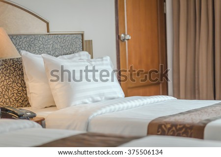 hotel room double bed #375506134