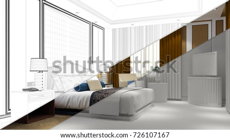 Hotel room draft planning process with CAD sketch (3D Rendering)
