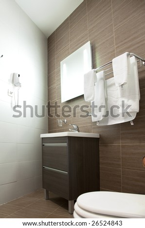 hotel room with red and beige four stars empty - stock photo