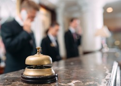 Hotel service bell Concept hotel, travel, room,Modern luxury hotel reception counter desk on background