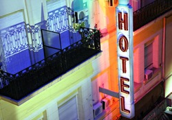 Hotel sign at night in Buenos Aires