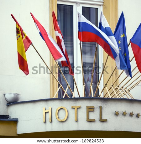 Hotel sign with national flags