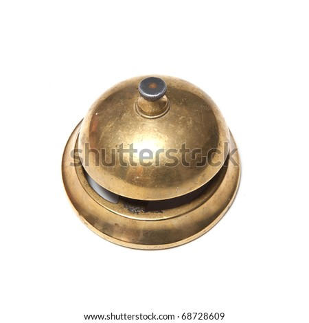 Hotel table bell isolated on a white studio background.