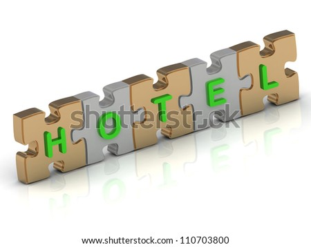 HOTEL word of gold puzzle and silver puzzle on a white background