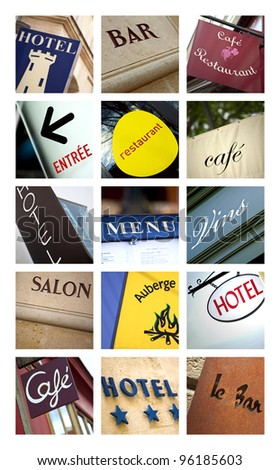 Hotels and restaurants collage
