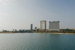 Hotels Construction site in Sihanoukville Drone shot 4K