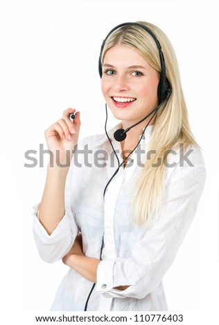 Hotline operator. Can I help you? Portrait of young woman on white baclground