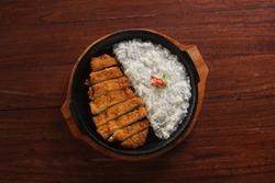 Hotplate Chicken Katsu Rice Homade