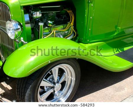 hotrod with hood open
