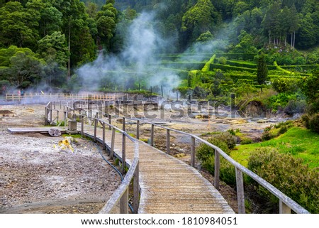 Hotsprings Of The Lake Furnas. Sao Miguel, Azores. Lagoa das Furnas Hotsprings. São Miguel, Azores, Portugal. Steam venting at Lagoa das Furnas hotsprings on Sao Miguel island in the Azores, Portugal. Stock foto ©