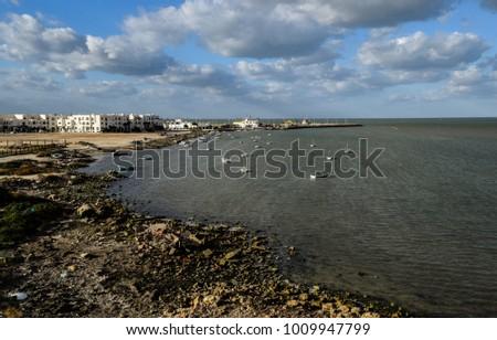 Houmt Souk fortress on Mediterranean sea coast in Tunisia. North Africa. Fort Ghazi Mustapha #1009947799