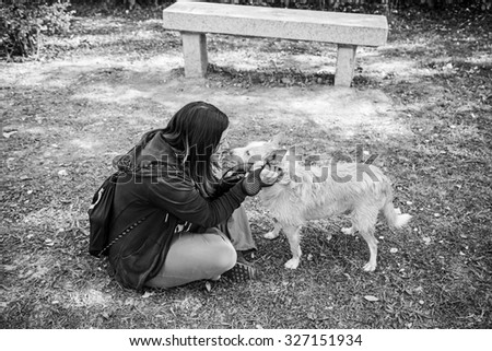 Hound dog person playing, love and adoption