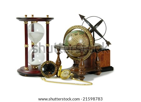 Hour glass used to measure time, Antique time zone converter, Gold pocket watch with a metal chain, Old world globe, Sundial telling the number of hours to go or the years left