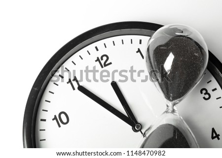 hourglass and Round office clock