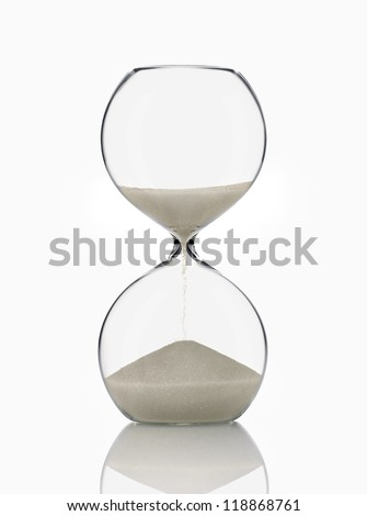 Hourglass, Glass Sand on White Background