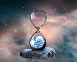 Hourglass hovering in space with ammonite fossil inside clock standing on petrified mollusc against cloudy sky and shining stars. Symbol of eternity, extinction and evolution, time is over concept.