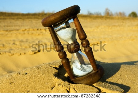 hourglass in desert