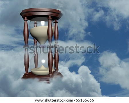 hourglass in the blue sky 3d illustration over sky photo