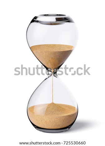 Hourglass isolated on white background. 3d rendering illustration of sandglass