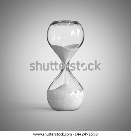 Hourglass on gray backgroun, sandglass 3d rendering