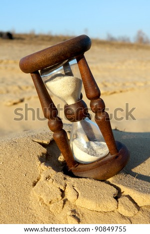 hourglass on sand in desert