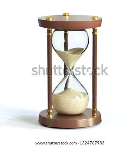Hourglass on white background, sandglass 3d rendering