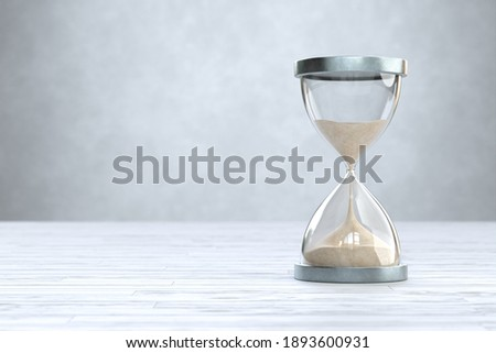 Hourglass on Wooden floor with copy space, sandglass. 3d illustration