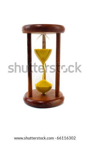 Hourglass over white background