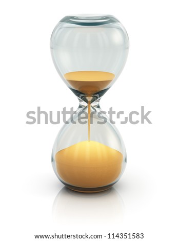 Hourglass, sand clock or timer isolated on white background