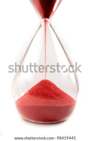 Hourglass, sandglass,  sand clock on white background - stock photo