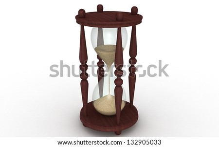 hourglass, sandglass, sand timer, sand clock isolated on the white background 3d illustration