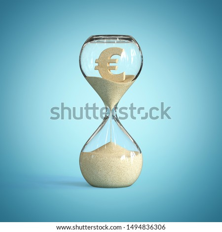 Hourglass, sandglass, sand timer, sand clock with euro sign sh 3d rendering