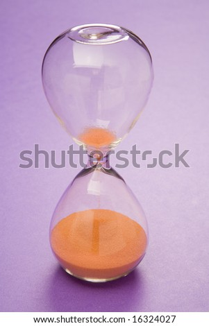 Hourglass style timer with orange sand.
