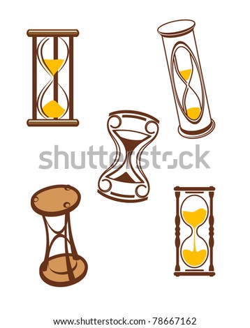 Hourglass symbols and icons for time concept and design. Vector version also available in gallery