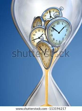 Hourglass time clock with sand flow