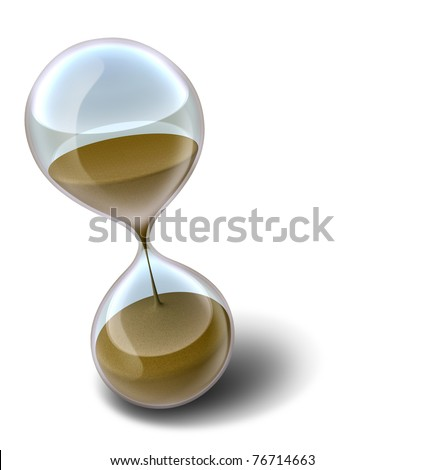 Hourglass time clock with sands of time running out representing a deadline or countdown that results in stress. - stock photo