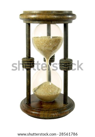 Hourglass with a sand trickle flowing, isolated on white