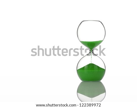 Hourglass with Green Sand on White