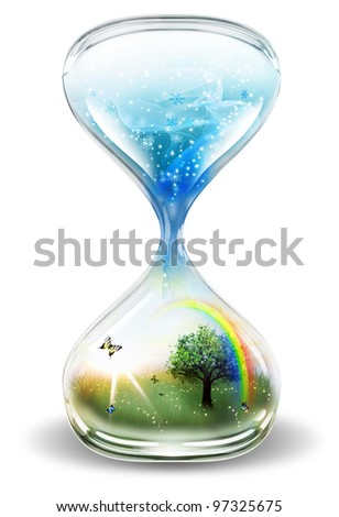 hourglass with winter and summer on a light background - stock photo