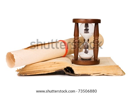 Hourglasses and book isolated on white background
