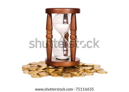 Hourglasses and coin isolated on white background